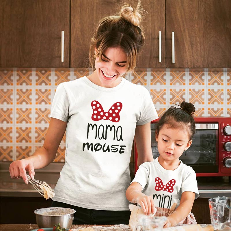 Mother Daughter Family T Shirt Matching Outfits Mommy And Me Mama Mom Clothes Look Clothing Big Litter Sisters Baby Girls Cotton
