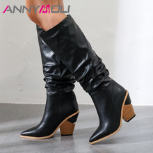 ANNYMOLI Winter Knee High Boots Women Pleated Strange Style Heel Tall Pointed Toe Shoes Female Autumn Plus Size 34-43
