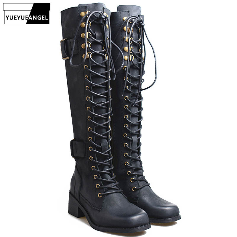 Tube Boots Casual Riding Boots Womens Motorcycle Knee High Boots with Belt Buckle Fashion Low Square Heel High