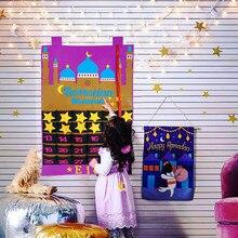 2021 el más nuevo Ramadan Mubarak 30 días calendario de Adviento Calendario de fieltro con cuenta atrás para colgar para niños regalos decoraciones Ramadán suministros