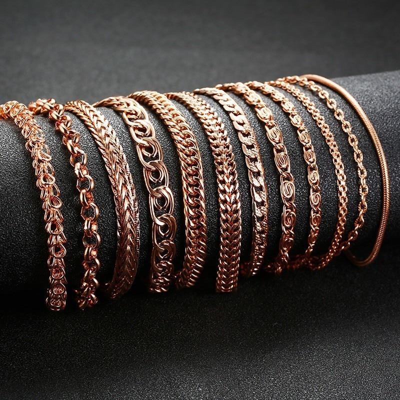 Vnox 585 gül altın zincir bilezik kadın erkek paslanmaz çelik Curb salyangoz tilki kuyruğu bağlantı bilezik 20.5cm-24cm