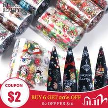 10 шт. рождественские украшения для ногтей микс красочные переводные наклейки для ногтей Фольга Снежный Цветок Лось подарок Санта клейкая бумага CH1036 1