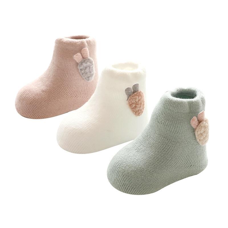 3 pairs / lot kaus kaki bayi, Kaus kaki katun bayi baru lahir untuk 0 - Pakaian anak anak - Foto 5