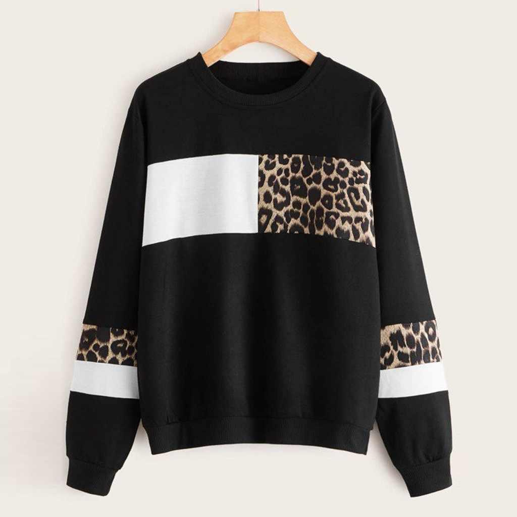 Sweatshirt For Women Leopard Print O Neck Cotton Tops Long