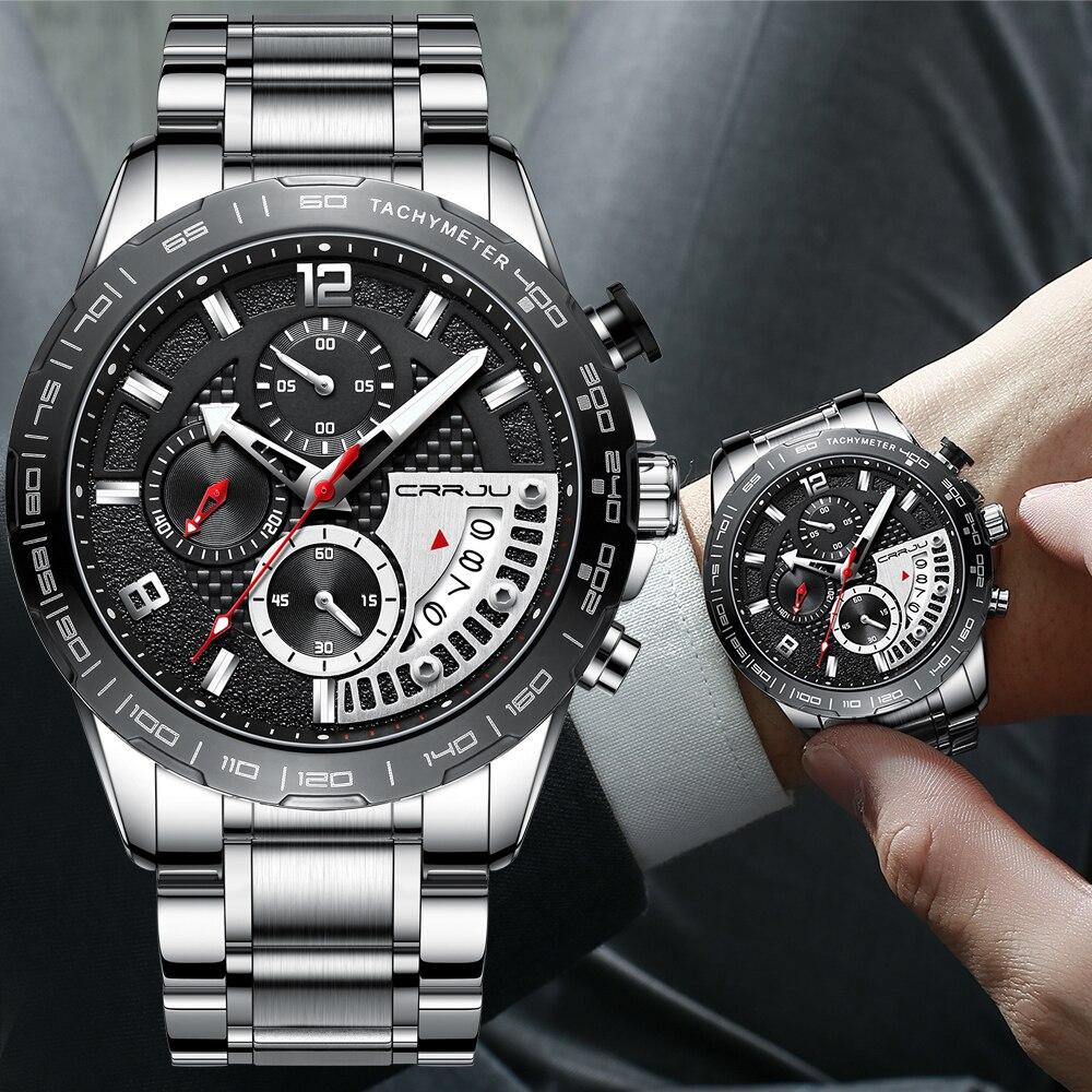 CRRJU Fashion Men Watches Top Brand Luxury With Stainless Steel Waterproof Chronograph Date Sport Quartz Watch Relogio Masculino