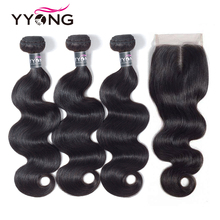 Yyong Hair 3 Bundles Brazilian Body Wave Bundles With Closure 4x4 Remy 4Pcs/Lot Human Hair Weave Bundles With Lace Closure
