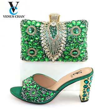 Fashion Rhinestone Woman Shoes And Matching Bag Set Novelty Style Green Color Pumps Shoes And Bag Set For Party Wedding