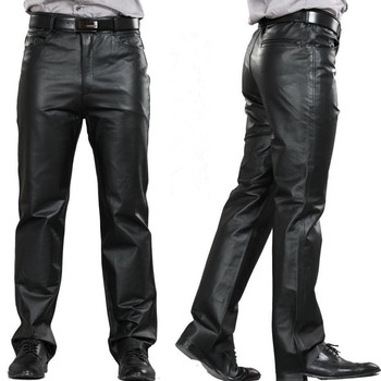 M 7XL Male Genuine Leather Pants Plus Size Straight Pants Men Leather Casual Pants Zipper Fly Men's Regular Full Length Pants 1
