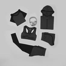 G-SHOW High waist pants + hooded jacket T-shirt bra ladies yoga 5 piece suit outdoor running gym sportswear
