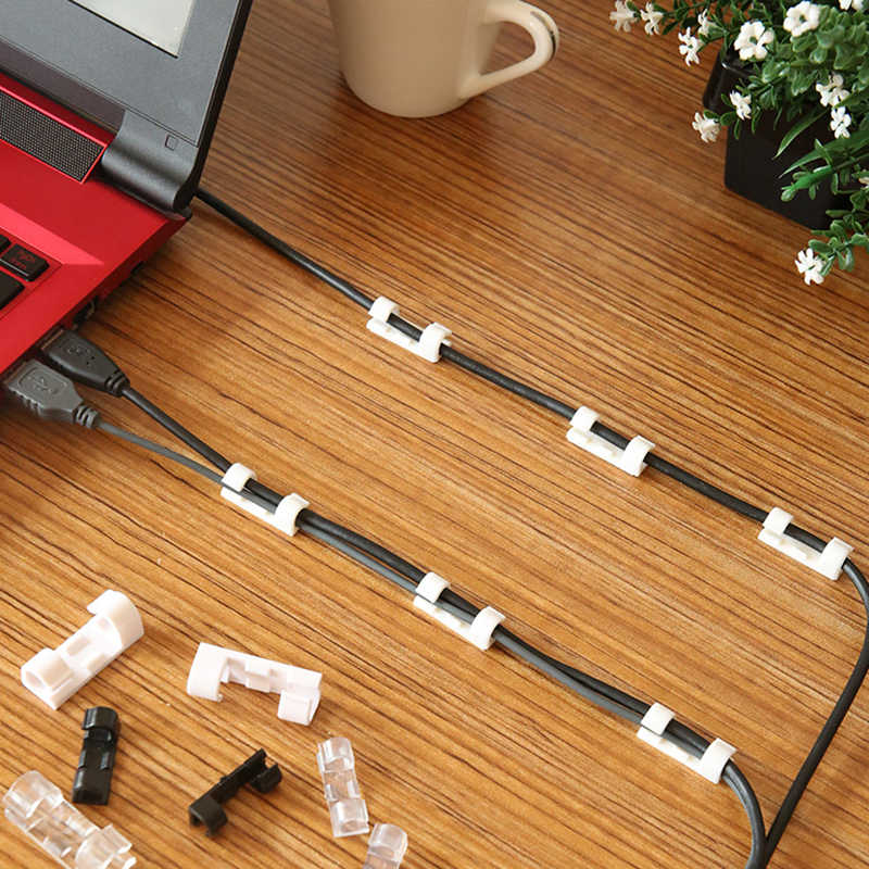 20/5Pcs Wire Kabel Management Organizer Desktop Workstation Cord Clips Management Houder Data Telefoonlijn Kabelhaspel Mouw