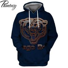 Phantasy 2020 Men Hoodie New Chicago Bears Rugby Men's Sweatshirts Printing Hoodie Cool Graphic Casual Hoodie eyelet drawstring graphic hoodie