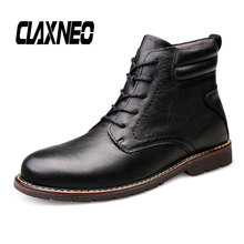 Buy CLAXNEO Man Boots Genuine Leather Autumn Male Leather Shoes High Top 2019 Winter Boot Plush Fur Warm Big Size directly from merchant!
