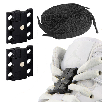 1 para magnetyczne zamknięcia butów bez krawata Shoelace klamra pasuje do mężczyzn kobiety dzieci seniorzy buty + 1 para płaski but sznurowadła w paczce tanie i dobre opinie JUPHAIR CN (pochodzenie) Stałe Magnetic Shoe Closures No Tie Shoelace Buckle JUP001 Poliester magnetic shoelace lock clips buckle for shoe laces closures lock adult