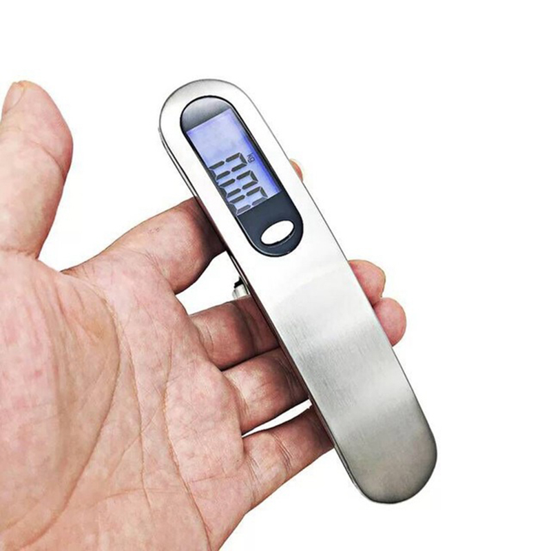 Ev ve Bahçe'ten Mutfak Terazileri'de Taşınabilir mutfak elektronik tartı dijital bagaj ölçeği 50 kg/10g ağırlık dengesi seyahat asılı Steelyard kanca ölçeği pil title=