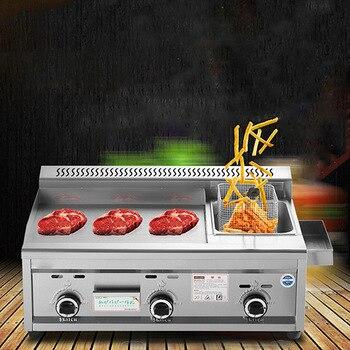 Commercial Gas Grill Deep Fryer Machine Griddles Frying Machine Teppanyaki Equipment Flat Grill Grill Squid 728 ce 2 tanks 16l electric deep fryer stainless steel frying machine commercial or household fryer