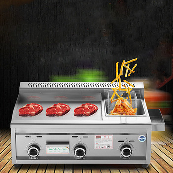 Commercial Gas Grill Deep Fryer Machine Griddles Frying Machine Teppanyaki Equipment Flat Grill Grill Squid multifunction 12 l deep fryer electric commercial stainless steel potato chicken food deep frying machine zf