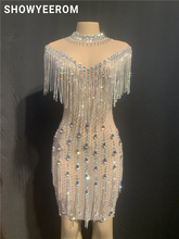 Donne Del Partito di Compleanno Celebrare Pietre Cristalli Vestito Frange Vedere Attraverso Mesh Dress Nightclub Costume di Ballo del pannello esterno di Scarsità del vestito