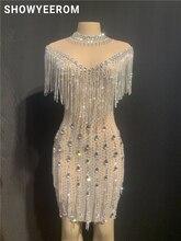 Kadınlar doğum günü partisi kutlamak taşlar elbise kristaller saçaklar See Through örgü elbise gece kulübü dans kostümü kısa etek elbise
