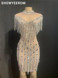 Image 1 - Robe en pierres de fête danniversaire pour femme, robe en cristal à franges transparentes, en maille, Costume de danse, boîte de nuit, jupe courte