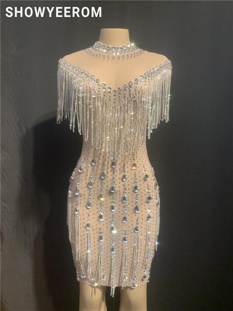 Robe en pierres de fête danniversaire pour femme, robe en cristal à franges transparentes, en maille, Costume de danse, boîte de nuit, jupe courte