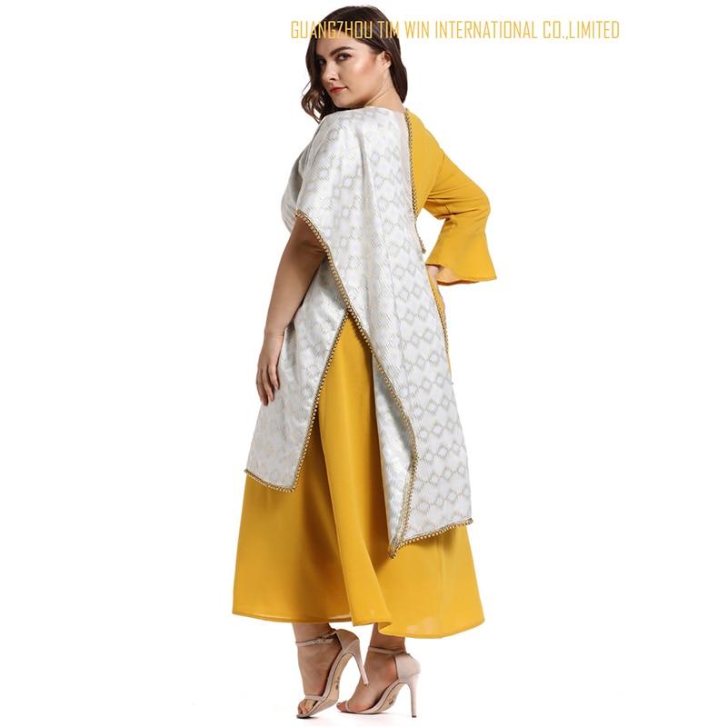 Vestidos женское платье большого размера желтое платье трапециевидной формы с круглым вырезом лоскутное кимоно рукав Модное платье Бандажное платье 2019 Toleen бренд - 6