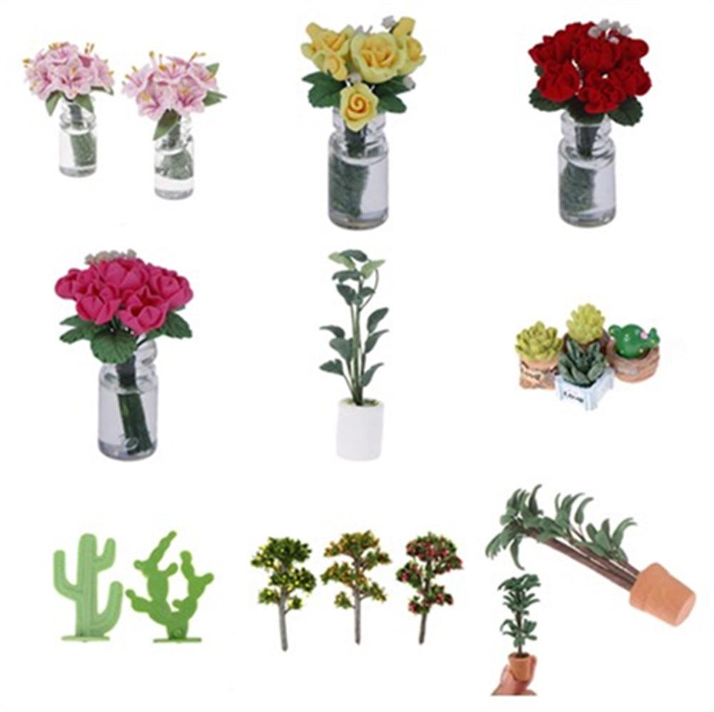 1:12 Doll House Miniature Flowers Fairy Garden Ornament Mini Potted Plant Flowers Pot DollHouse Decor Bonsai Model Kids Play Toy