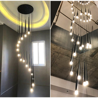 LED spiral living room chandelier simple hotel lobby staircase chandelier lighting interior home decoration long hanging lights