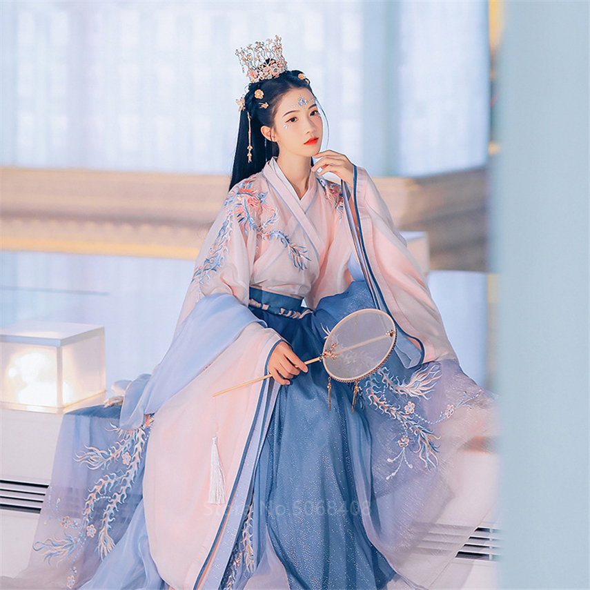 Elegant Hanfu For Women Embroidery Mesh 6m Big Swing Phoenix Embroidery Hanfu Gradient Color Dress Fairy Girls Performance