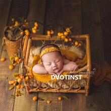 Dvotinst Newborn Photography Props for Baby Retro Handmade Rattan Basket Bucket Fotografia Accessories Studio Shoots Photo Props