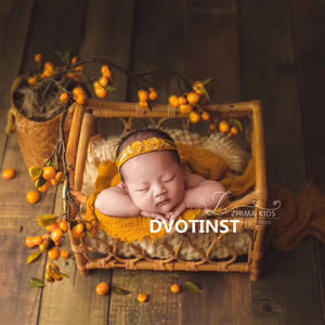 Dvotinst Newborn Photography Props for Baby Retro Handmade Rattan Basket Bucket Fotografia