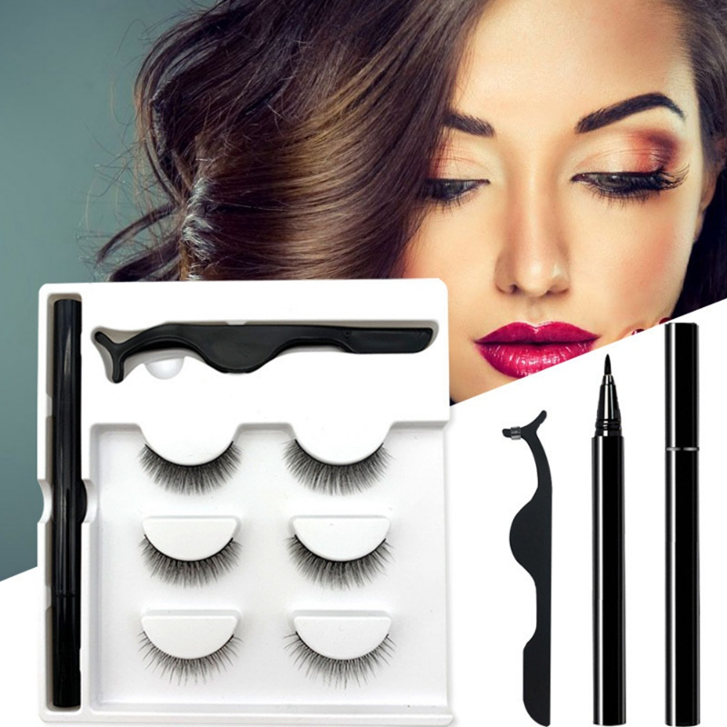 Hotsale 3 Pairs False Eyelash Set With No Glue No Magnet Magic Eyeliner And 3 Pairs Magnetic Eyelashes Set Lashes Kit
