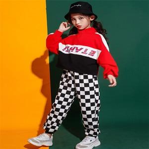 Image 2 - Jongens Meisjes Jazz Dans Kostuum Straat Prestaties Set Volledige Herfst Kinderen Kleding Hip Hop Kostuums Outfit Hoodie Broek 2 Stuks