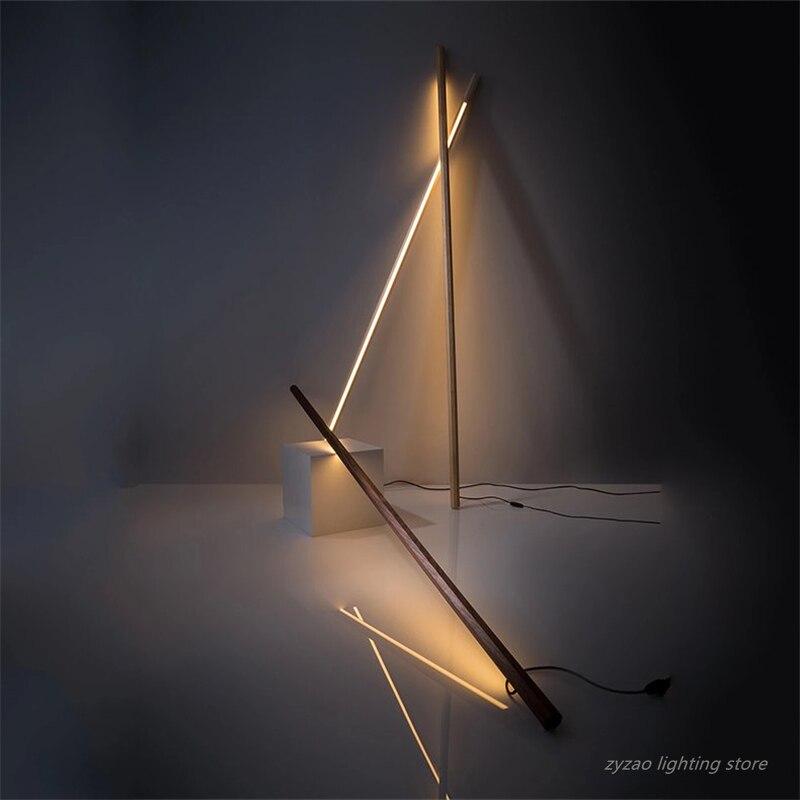 Современные скандинавские простые светодиодные Торшеры для гостиной, креативные прикроватные лампы для спальни, отдельно стоящие лампы черного ореха для гостиной|Напольные лампы|   | АлиЭкспресс