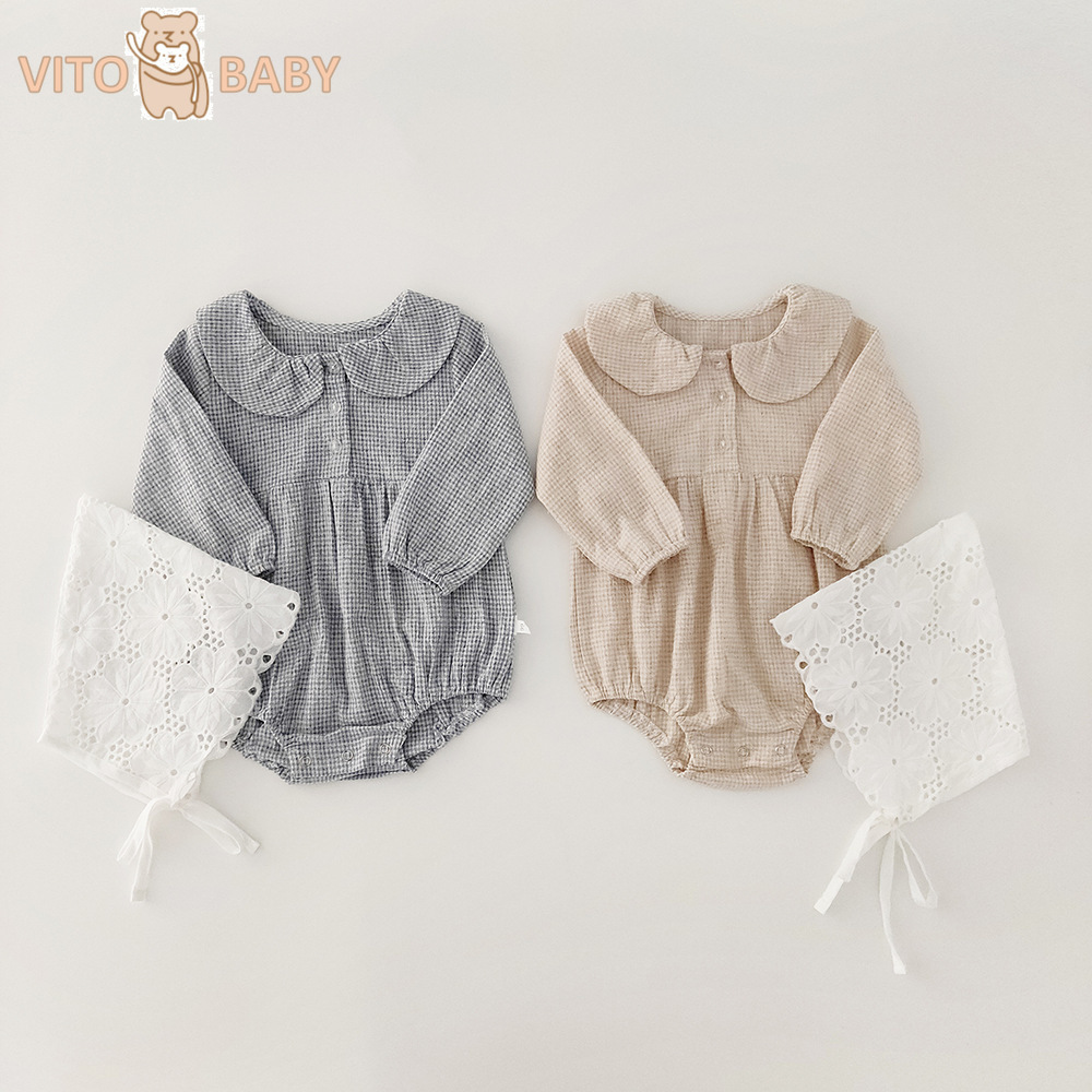 VITO Baby Spring New Baby Girls' Lapel Long Sleeve Romper Baby Cotton One Piece Plaid Princess Romper And Lace Hat
