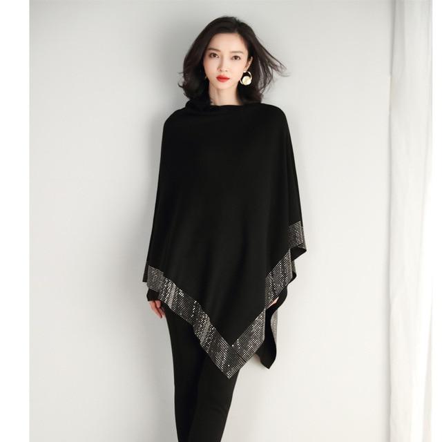 2019 women retro cape coat female cloak autumn 2019 new diamond knitted shawl sweater loose bat sleeve temperament 6