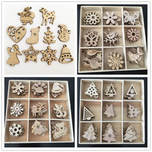 Christmas Day Decorations Handmade DIY Primary Color Wood Environmentally Friendly Natural Creative Cartoon Wood Chips decor(China)