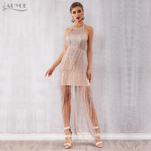 Adyce 2020 New Summer Fringe Women Bandage Dress Vestidos Sexy Celebrity Evening Runway Party Dress Nude Maxi Tassels Club Dress