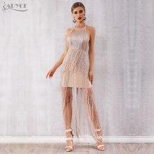Adyce 2020 nowe letnie Fringe kobiety bandaża sukni Vestidos seksowna celebrytka wieczór Runway Party Dress Nude Maxi frędzle sukienka klubowa