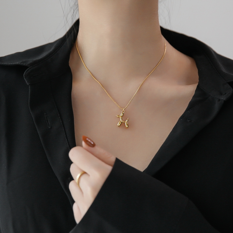 YUN RUO 2020 модное ожерелье с подвеской в виде щенка собаки, позолоченная цепочка из титановой стали, ювелирные изделия для женщин, подарочные а...