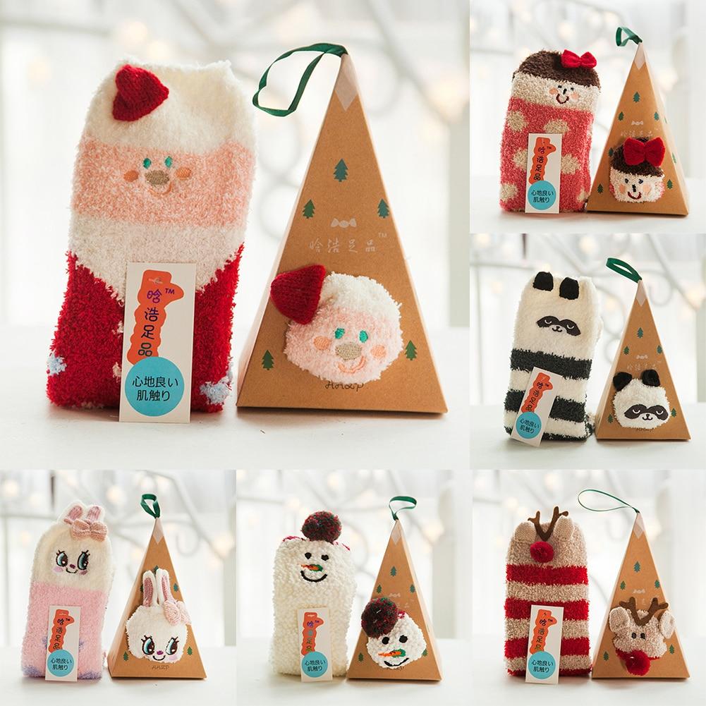 Xmas Santa Warm Soft Coral Fleece Slipper Socks Adults Kids Christmas Gift Box Set