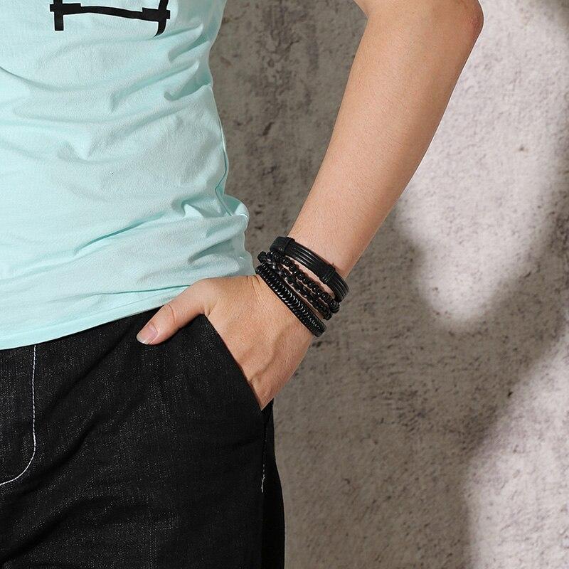Vnox Mix 4Pcs/ Set Braided Wrap Leather Bracelets for Men Women Vintage Wooden Beads Ethnic Tribal Wristbands Bracelet Rudder 2