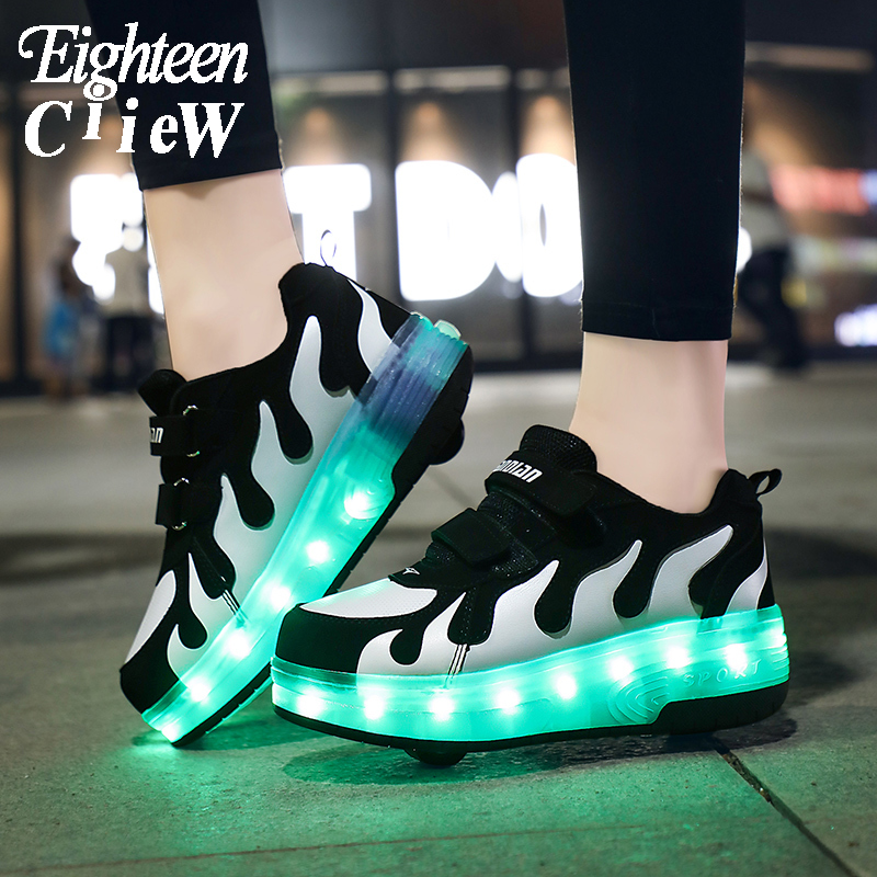 2020 New Glowing Sneakers On Wheels USB Charging Luminous Shoes Wheels LED Flashing Double Wheels Roller Skates Size 28-40
