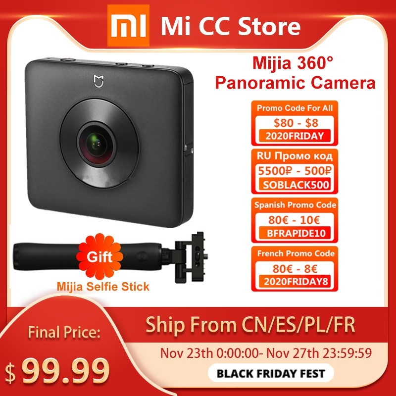 In Stock Xiaomi Mijia 360° Panoramic Camera 3.5K Video Recording Sphere Camera IP67 Rating WiFi Bluetooth Mini Sport Camcorder