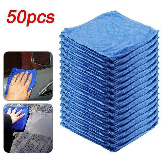 새로운 50Pcs 세차 타월 블루 안티 스크래치 빠른 건조 Microfibre 청소 다기능 피부 친화적 인 세차 30*30cm