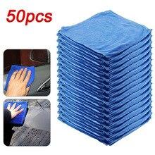 Serviette de lavage de voiture bleue anti rayures, 50 pièces, en Microfibre à séchage rapide, multifonction, doux pour la peau, 30x30cm, nouveauté