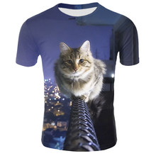 Sondirane Brand Design Space Galaxy T-shirt Short Sleeve 3D Print Funny Cartoon Cat Horse Shark T Shirt Tops Summer Tees 5XL(China)
