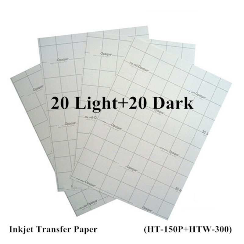 (40pcs=20pcs Light+20pcs Dark) Inkjet Heat Transfer Paper For Cotton A4 Size 8.3*11.7 Inch Iron On Paper Thermal Transfer Papel