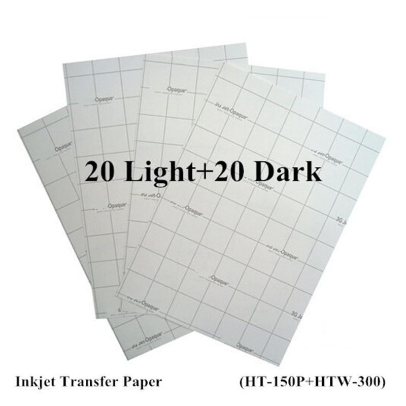 (40pcs=20pcs Light+20pcs Dark) Inkjet Heat Transfer Paper For Cotton A4 Size 8.3*11.7 Inch Iron On Paper Thermal Transfer Papel
