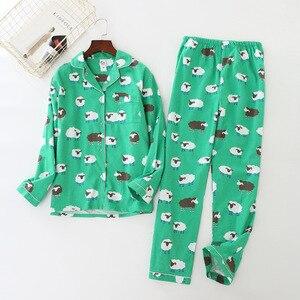Image 4 - JULYS SONG kobieta bawełna drukowanie piżamy długie rękawy damskie spodnie piżamy zestaw dorywczo duży rozmiar miękki piżamy garnitur