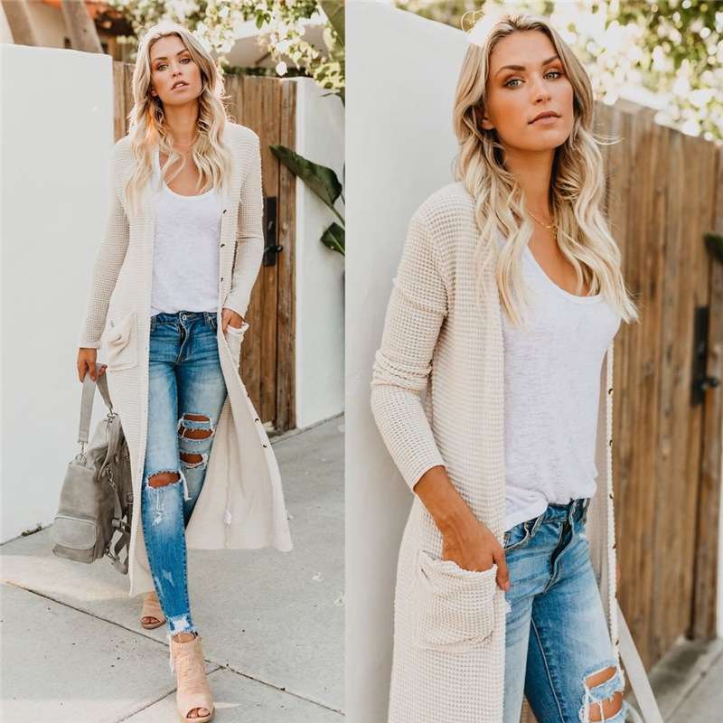 Female Sexy Button Pocket Long Cardigan Sweater Women Autumn&Winter Windbreaker Thin Knitted Casual Sweaters Clothes Streetwear